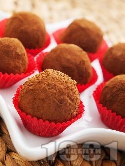 Домашни бонбони топчета с течен шоколад, масло, орехи и какао - снимка на рецептата